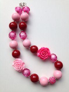 Valentines Day chunky necklace..chunky bead by GirlzNGlitter, $16.50