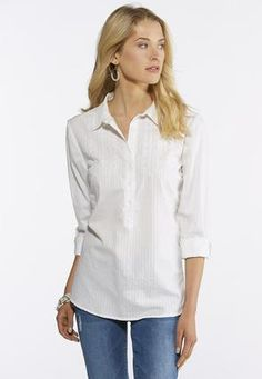 cf525a7b8488b Cato Fashions Plus Size Embroidered Shadow Stripe Shirt  CatoFashions Cato  Fashion Plus Size