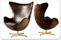 Leather, suede and brass Arne Jacobsen egg chair