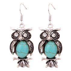 BUY 1 GET 1 FREE Faux Turquoise Owl Earrings Silver oval turquoise crystal moon stone owl earrings New 5 sets available Jewelry Earrings Owl Earrings, Turquoise Earrings, Drop Earrings, Owl Necklace, Statement Earrings, Silver Rhinestone, Tibet, Charm Jewelry, Silver Jewelry