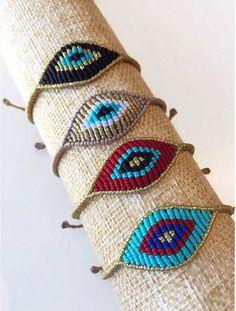 Unique Friendship Bracelets, Braided Bracelets, Loom Bracelets, Macrame Bracelets, Knotted Bracelet, Macrame Knots, Evil Eye Jewelry, Evil Eye Bracelet, Seed Bead Jewelry