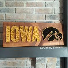 ordered board - measures x /strungbyshawna Wood Crafts, Fun Crafts, Diy And Crafts, String Art Templates, Nail String Art, Sport Craft, Woodworking School, Iowa Hawkeyes, I Love Mom