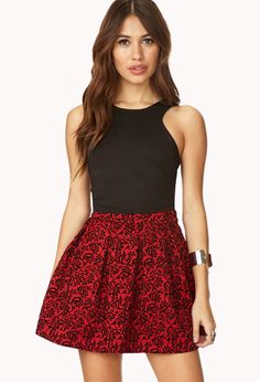 Luxe Floral Skirt | FOREVER21 Bright and festive for the holidays #Floral #Pleated #Velvet