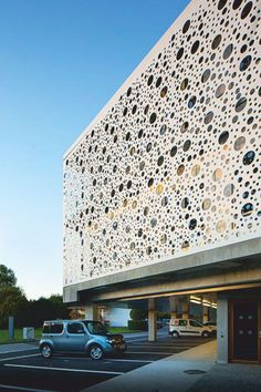 Municipal Offices of the Lacq Region by Gilles Bouchez Architecture Office Building Architecture, Education Architecture, Building Facade, Facade Architecture, Cladding Design, Facade Design, Building Skin, Small Buildings, Kindergarten Design
