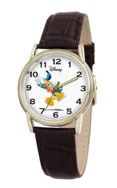 Disney Men's D063S003 Donald Duck Brown Leather Strap Watch Disney. $35.95. Case diameter: 34.8 mm. Water-resistant to 99 feet (30 M). Mineral crystal. Metal case; white dial. Quartz movement