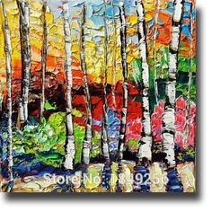 Colorful Beautiful Landscape Trees Oil Painting On Canvas Abstract Colorful Birch Oil Paintings For Drawing Room Decoration