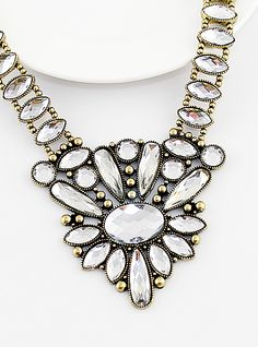Vintage Rhinestone Drop Flower Necklace - Sheinside.com
