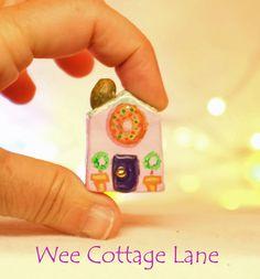 Donut Shop, Village Donut Shop, Wee Cottage Lane, Ceramic House, Mini Cottage, Miniature Cottage,  Tiny Home, Miniature Home