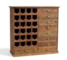 Everett Reclaimed Wood Wine Cabinet #potterybarn