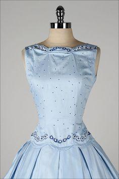 vintage 1950s dress . TEENA PAIGE . dead stock . light blue