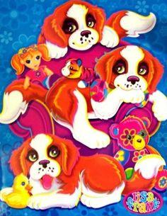 NEW Early Vintage Lisa Frank Puppy Dog Ruckus, Raider, Risky Puppies Two Pocket Portfolio Folder for 3 Ring Binder or Traperkeeper