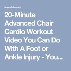 Advanced Chair Cardio Workout Video You Can Do With A Foot or Ankle Injury Workout List, Best Cardio Workout, Easy Workouts, Workout Videos, Foot Exercises, Weight Bearing Exercises, Weight Lifting Workouts, Chair Exercises, Buy Health Insurance