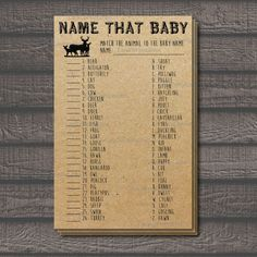 Name That Baby Baby Shower Baby Animals Matching Game, Woodland Animals, Rustic Baby Shower by CaraCoPrintables