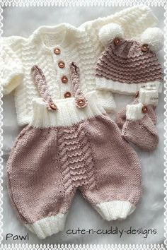 """A lovely pattern to knit for a baby or reborn/doll.The pattern consists of a cardigan, romper with cable straps, pull-on hat and bootees.If knit in 4-ply the set will fit a 15-17"""" reborn/doll or prem baby up to approx 6lbs. If knit in DK it will fit a 18-22"""" reborn/doll or baby up to approx 10lb."""