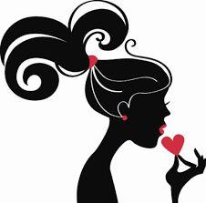 Tarjeta Da de la Mujer con la silueta de mujer negro  Diseo