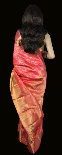 Grand Pink Two Tone Bridal Kanjeevaram Saree