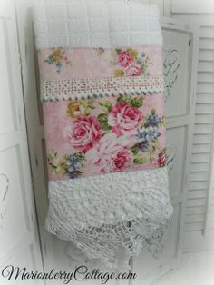 Luxury display towel  with Kilala pink roses and vintage crochet