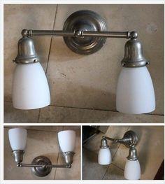 Vintage Chrome Brass Sconce Wall Light Milk Glass Shades Old Fixtures Bath | eBay http://www.ebay.com/itm/-/332259376006?
