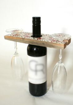 wine glass holder, wine rack,reclaimed wood floating wine glass, floral pattern.Mothers day gift. Holds 2 glasses by BearDogAndMe on Etsy