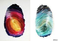 Отпечатки пальцев из цветной бумаги.