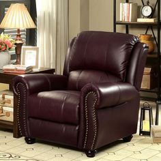 Furniture of America Turton Collection 40 Inch Chair with Top Grain Leather Match Upholstery, Bun Feet and Nailhead Trim in Brown Brown Leather Chairs, Leather Club Chairs, Red Leather, Distressed Leather, Leather Recliner Chair, Leather Sofas, Swivel Chair, Cozy Sofa, Cozy Chair