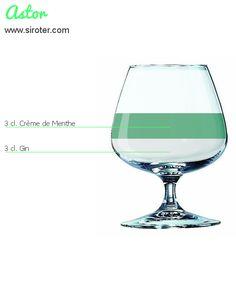 Recette Cocktail Astor - Avec alcool. 3 cl de Gin, 3 cl crème de menthe