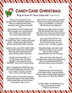 Rhyming text and song of The Legend of The Candy Cane - Read or sing to the tune of Jesus Loves Me (omit chorus). Tell the gospel message in the meaning of the candy cane with this delightful Candy Cane Christmas song. Bonus: get one or both the Pocket Christmas Concert, Christmas Poems, A Christmas Story, Christmas Candy, Christmas Traditions, Christmas Holidays, Christmas Decorations, Christmas Treats, Christmas Parties