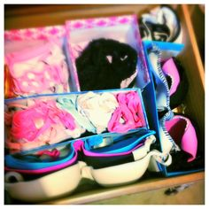 DIY dresser drawer organization using old shoe boxes. Who'd have thought?
