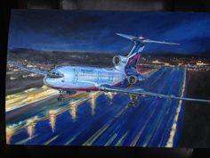 #art, #plane, #airplane, #tu154, #картина, #масло, #самолёт, #ту154м, #ту154