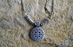 Celtic Cross Necklace, Silver Necklace (368)