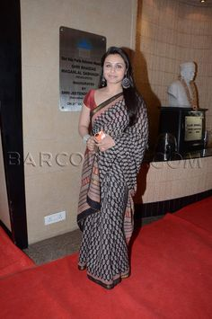 Style savvy Rani Mukherjee who opted for a black saree and red blouse