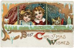 Two Girls and Their Cat at a Snowy Window | Individual Christmas Greeting Cards