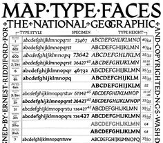 A collection of typefaces designed by National Geographic Society cartographer Charles E. Riddiford