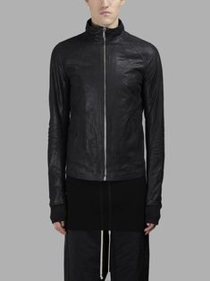 RICK OWENS MEN'S BLACK INTARSIA HIGH NECK LEATHER JACKET   - BLACK - ZIP CLOSURE - SIDE POCKETS - SEAM DETAILS - INTERNAL ZIPPED POCKET - RIBBED SLEEVES OUTLINES - 100% LEATHER - MADE IN ITALY