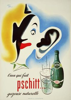 1949 Perrier water vintage advertisement poster France - artist Jean Carlu.