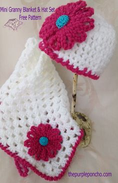 Mini Granny Blanket and Hat set -3 Free crochet patterns.   www.thepurpleponcho.com