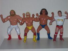 """Vintage 1980's Set Of Four WWF Wrestling Figures Dolls LJN Toys 8"""" Rubber Andre…"""