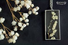 Lily of the valley jewelry. Pressed flower necklace. Nature inspired. Dried…