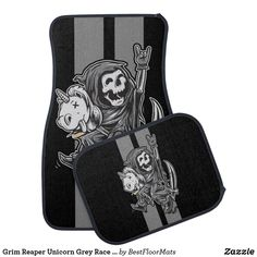 Shop Grim Reaper Unicorn Grey Race Stripes Car Floor Mat created by BestFloorMats. Car Mats, Car Floor Mats, Cool Car Accessories, Grim Reaper, Cool Cars, Unicorn, Initials, Stripes, Racing