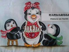 Pinguim pintura em tecido