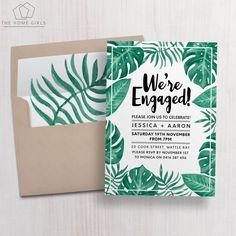 Printable Engagement Invitation / Palm Leaf / by TheHomeGirlsEtsy