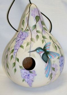 Hummingbird with Wisteria Flowers Gourd Birdhouse - Hand Painted Gourd Hummingbird with Wisteria Flowers Gourd by FromGramsHouse on Etsy Decorative Gourds, Hand Painted Gourds, Gourds Birdhouse, Birdhouses, Bird Houses Painted, Bird Cages, Gourd Art, Tole Painting, Blue Bird