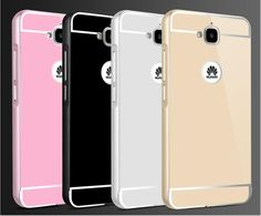 Luxury Metal Case with Aluminum Alloy Frame Mirror PC Back Cover Durable Shell HUAWEI Y6 Pro Case fundas huawei y6 pro phone bag
