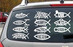 "8"" Darwin Fish, Trek Fish, Dr Who Fish, Fish N' Chips, Alien Fish, and more Die Cut Vinyl Decal Sticker"