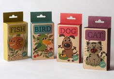 "Fish, Bird, Dog & Cat  |  ""Fish, Bird, Dog & Cat is a line of animal food. You can easily see what you're buying through the little windows of each of them."""
