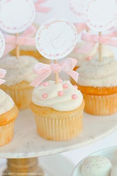 FREE pritable cupcake toppers! Floral chic baby blessing luncheon by Kara Allen | Kara's Party Ideas LDS Blessing Ideas with FREE printables