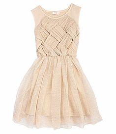 GB Girls 716 Pleated Mesh Glitter Dress #Dillards