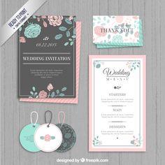 invitation de mariage, étiquettes et le menu Vecteur gratuit