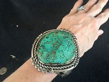 206.9g Large Old Pawn Navajo Pilot Mountain Turquoise SS Cuff Bracelet