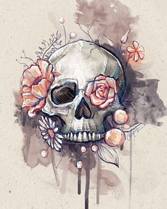 don't mind the skull in this one at all! Love this idea for a thigh tattoo I don't mind the skull in this one at all! Love this idea for a thigh tattoo.I don't mind the skull in this one at all! Love this idea for a thigh tattoo. Tattoo Website, Tattoo Muster, Totenkopf Tattoos, Geniale Tattoos, Flower Skull, Skull Tattoo Flowers, Pretty Skull Tattoos, Floral Skull Tattoos, Sugar Skull Tattoos